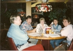 At Applebee's with some of the Reunion committee, 2/97,Fred Mierski,Barry Duncan,Linda Sinclair,Teddy Oconnell,Nina Dal