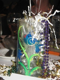 One of the vase centerpieces painted by our own Brenda Turner!